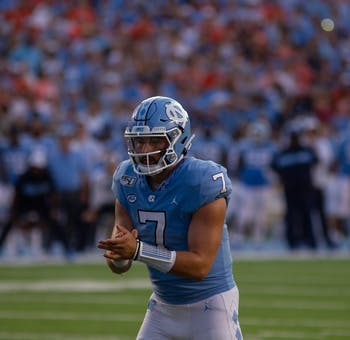 UNC quarterback Sam Howell (7) signals for the snap during the football game against Clemson on Saturday, Sept. 28th, 2019 at Kenan Memorial Stadium. UNC lost to Clemson 21-20.