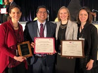 """Pictured left to right, the authors of the award-winning study, """"A National Survey of Sexual Harassment among Surgeons"""": Dr. Kandace McGuire, MD; Dr. Apoorve Nayyar, MBBS; Dr. Kristalyn Gallagher, DO; and Dr. Lillian Erdahl, MD. Photo courtesy of Anthony Charles."""