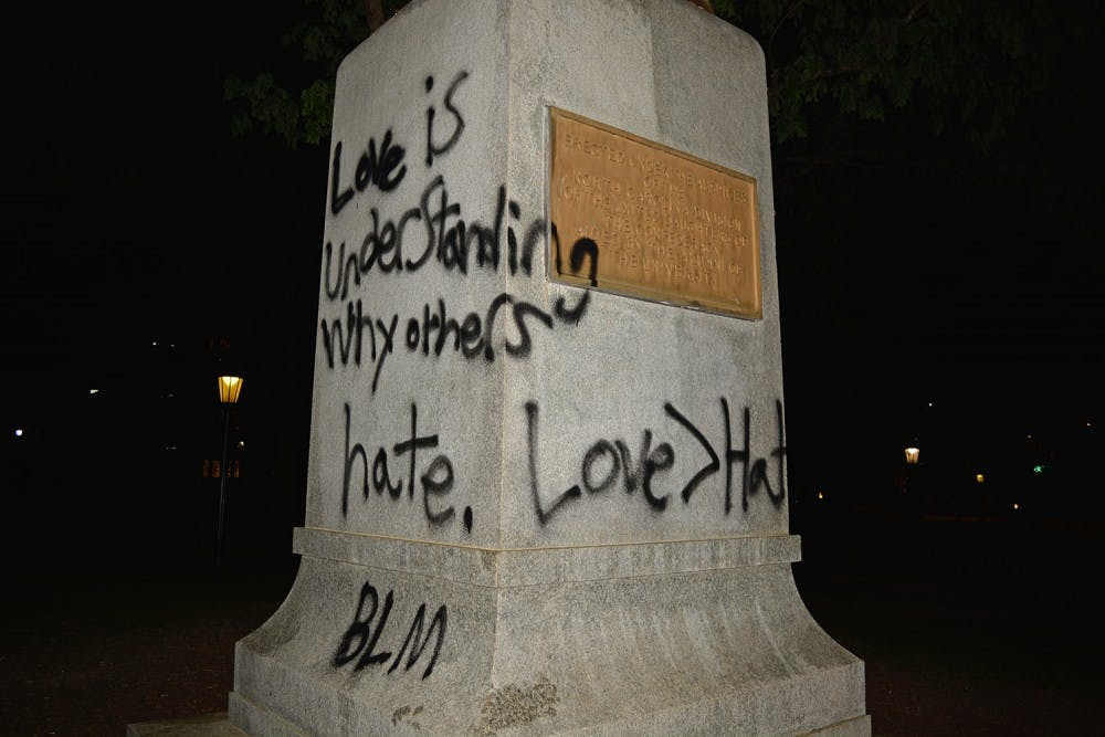 Confederate monument 'Silent Sam' spray-painted again on Friday