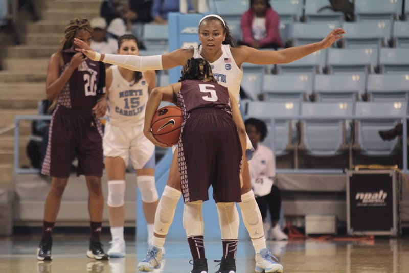 UNC guard Stephanie Watts (5) defends Alabama State guard Damya Toney (5) on Thursday night.