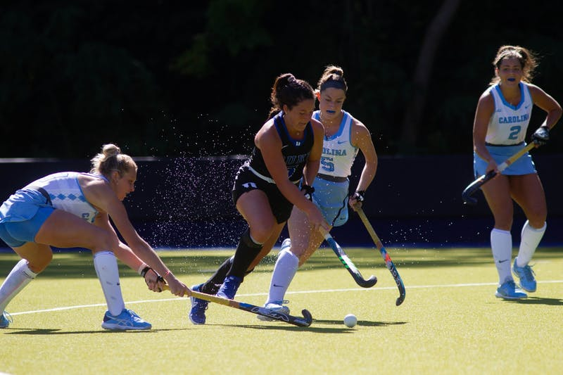UNC field hockey players fight Duke players for the ball at the game on Sunday, Oct. 18, 2020. UNC won 5-4 in overtime.