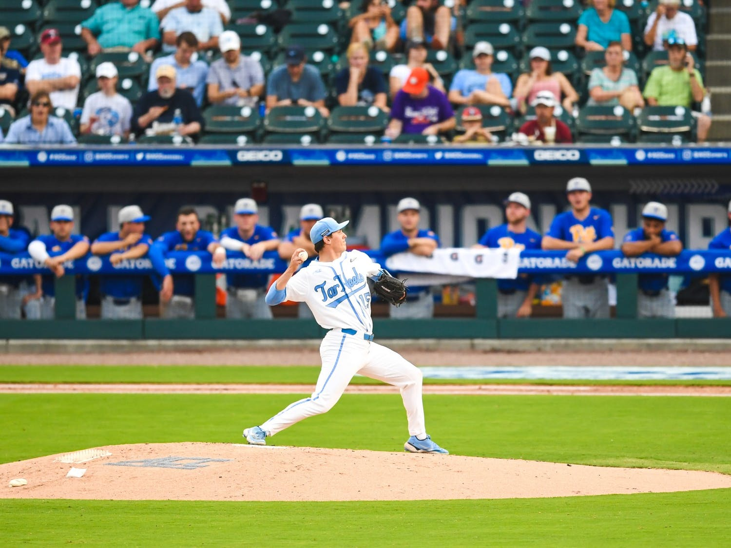UNC senior right handed pitcher Gage Gillian (15) pitches the ball at the ACC tournament against Pittsburgh on Tuesday May 25, 2021 in Charlotte, NC. UNC lost 5-3. Photo courtesy of Maggie Boulton and Laura Wolff.