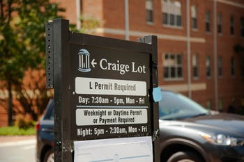 The new weeknight parking ordinance was enacted on Aug. 15 2019. New signage has been posted across campus, including at Craige Lot which houses 'L' permits. Weeknight parking begins at 5 p.m. and ends at 7:30 a.m..