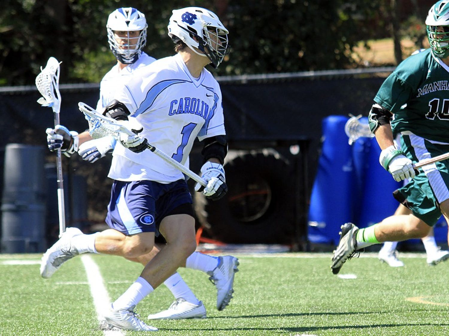 Sophomore Luke Goldstock prepares to shoot against Manhattan as a part of his historic nine-point performance, the most of any Tar Heel since 2012.