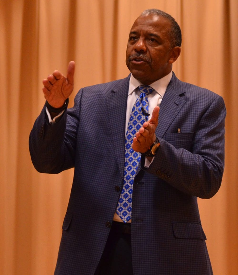 Astronaut Bernard Harris Jr. spoke to middle school students on campus