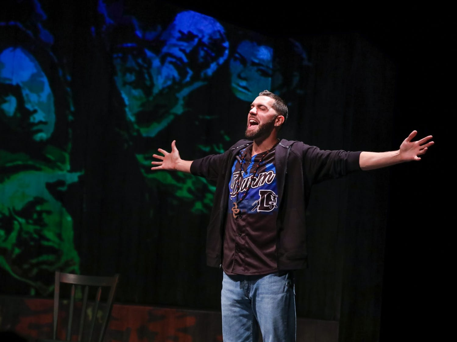 "Kane Smego, the writer and performer of ""Temples of Lung & Air"" performs on stage. The show is Playmakers Repertory Company's first show of the season. Photo courtesy of Huth Photo."