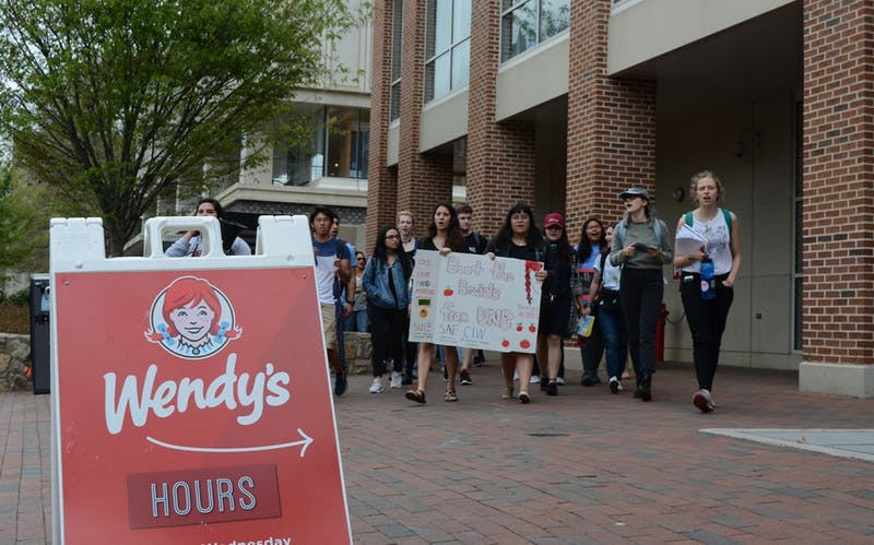 Protesters arriving at Wendy's on-campus location.