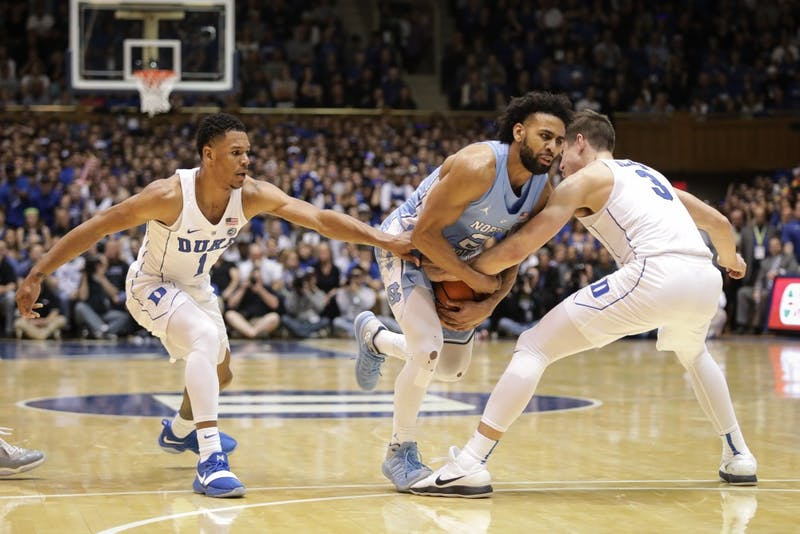 North Carolina guard Joel Berry II (2) drives towards the basket during the second half of a game against Duke on March 3 at Cameron Indoor Stadium.