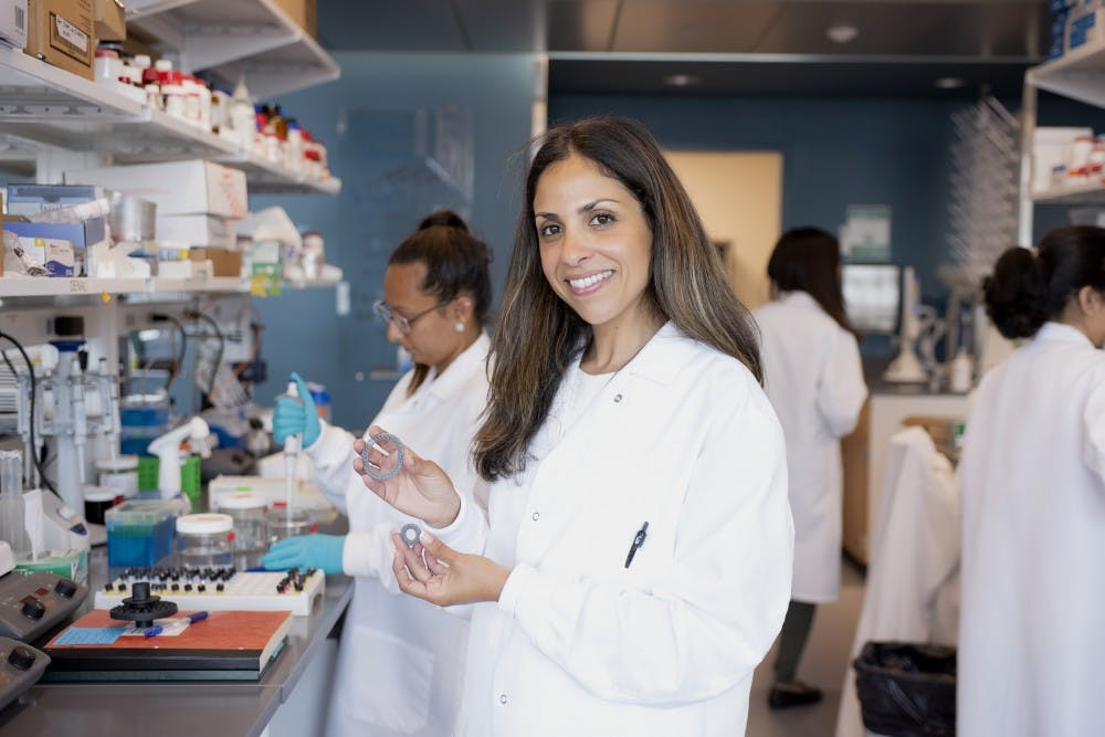 <p>Rahima Benhabbour, an assistant professor in the UNC and N.C. State Joint Department of Biomedical Engineering, created a startup called AnelleO with 3D printing technology. Photo courtesy of Sarah Daniels.</p>