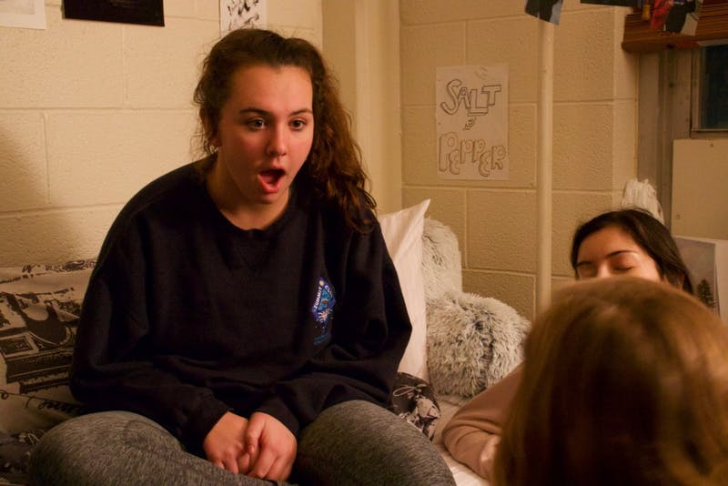 "Erin Campagna, a freshman majoring in English and Communications and minoring in history. She is hanging out with her suitemates who are her ""closest friends"" that she really wanted to room with last year, but that was messed up by Carolina housing"