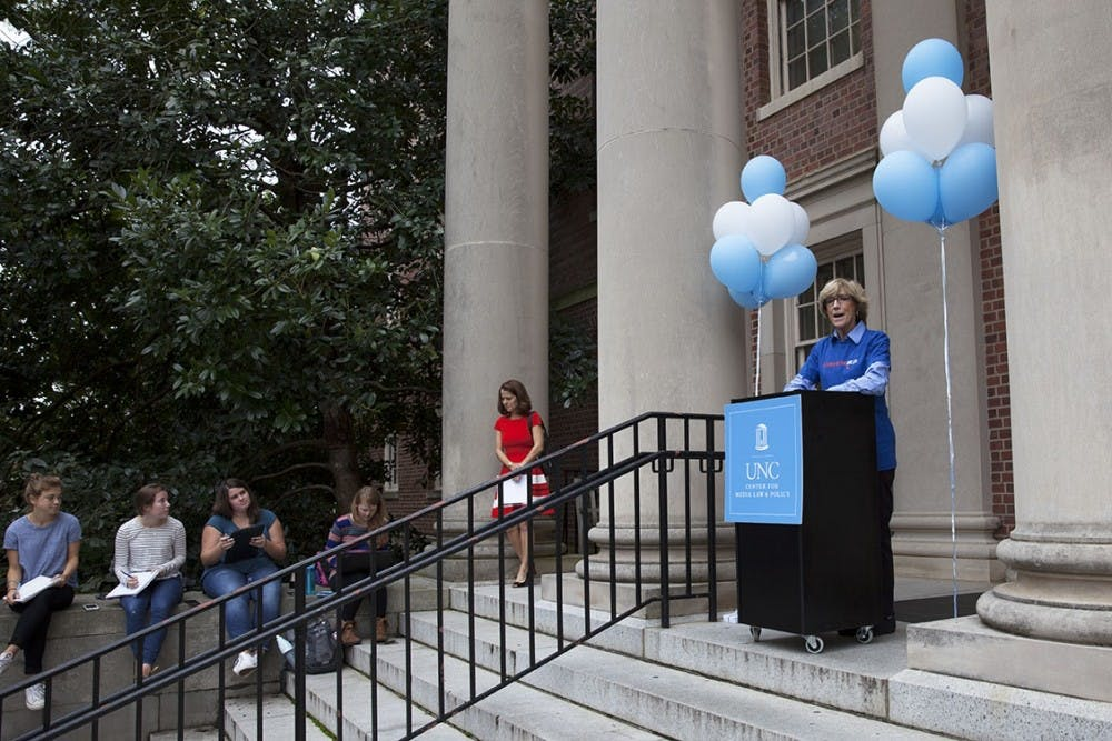 <p>Susan King, the Dean of the School of Media and Journalism, speaks at the First Amendment Day opening ceremony in 2015.</p>