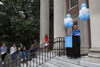 Susan King, the Dean of the School of Media and Journalism, speaks at the First Amendment Day opening ceremony in 2015.