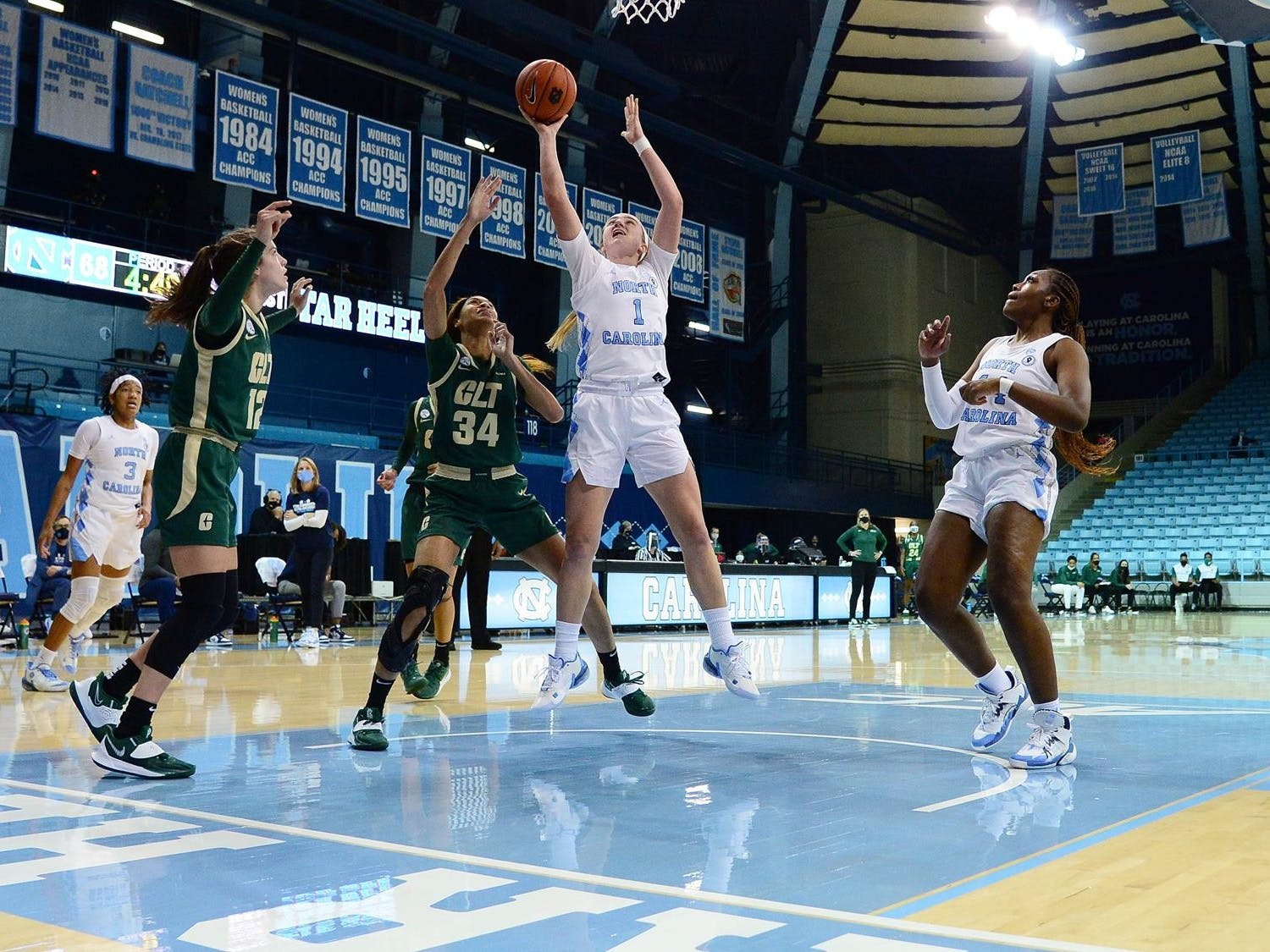 UNC first year guard Alyssa Ustby (1) makes a shot during a game against UNC Charlotte in Carmichael Arena on Sunday, Dec. 6, 2020. UNC beat UNCC 81-75. Photo courtesy of UNC Athletic Communications.