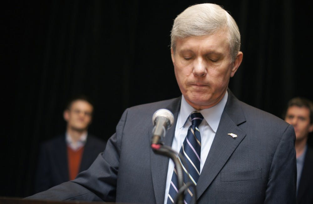 <p>Walter Dalton gives his concession speech in Raleigh Tuesday evening.</p>