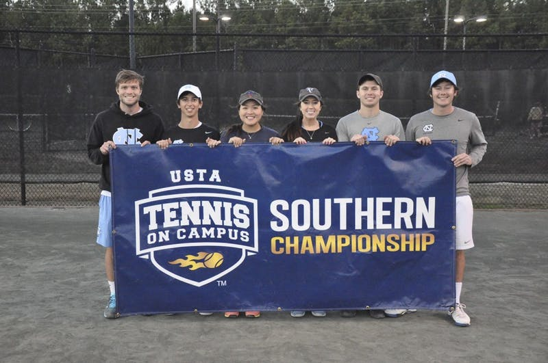 The UNC club tennis team will be playing in the 2017 USTA Tennis On Campus National Championship on April13-15.Photo Courtesy of Sarah French.