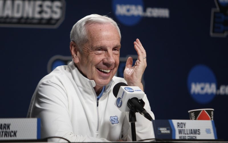 Head coach Roy Williams answers questions during a press conference on Saturday, March 23, 2019.