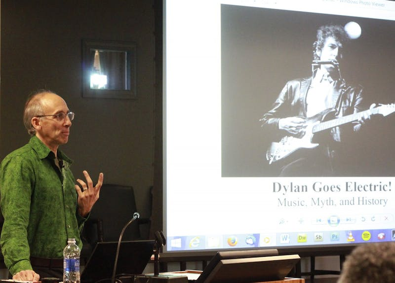 """Elijah Wald presents his book on Bob Dylan and the culture, politics, history, and stories of American folk and rock music, """"Dylan Goes Electric! Music, Myth and History,"""" in Wilson Library."""