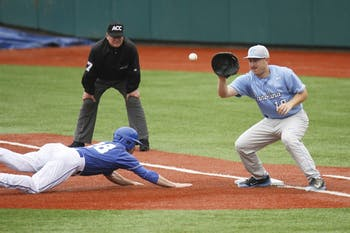 UNC first baseman Tom Zengel (19) tries to get a Duke player out. Carolina was defeated by the Blue Devils in their three game series 3-0 at Jack Coombs Field in Durham, NC.