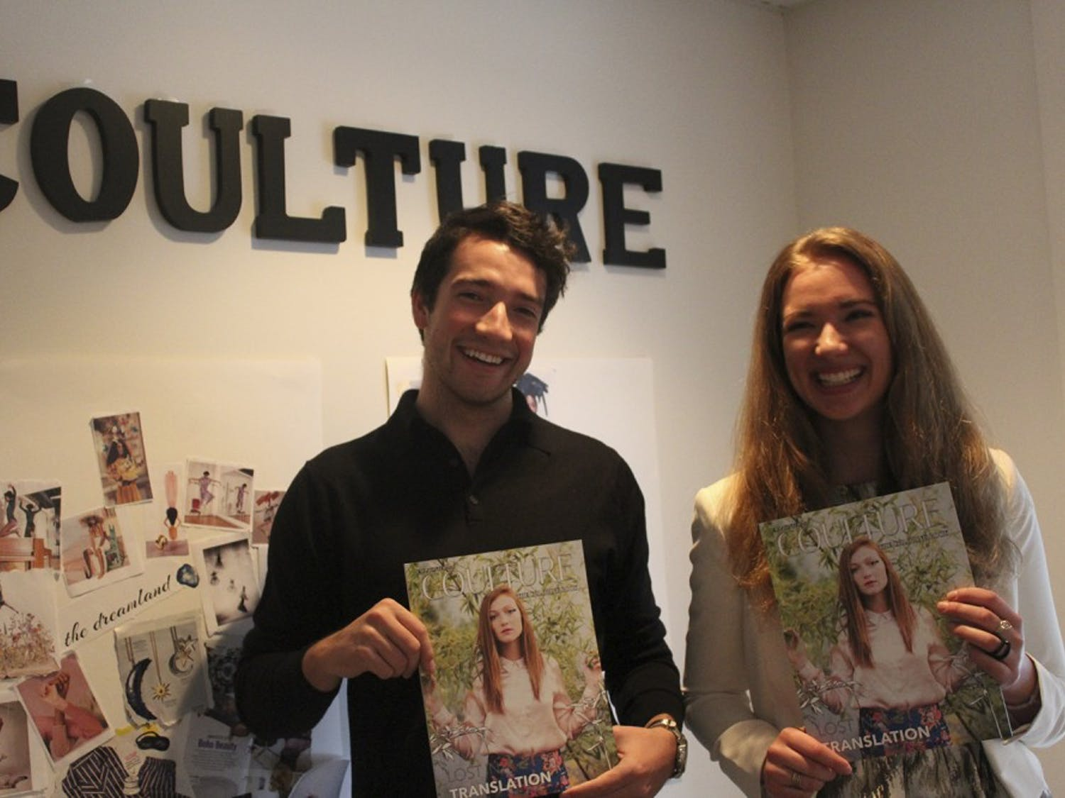 Coulture Magazine is a student-run fashion magazine printed once each semester. Here, co-founders Alexandra Hehlen and Remington Remmel pose for a picture in their new office at 145 Franklin St.