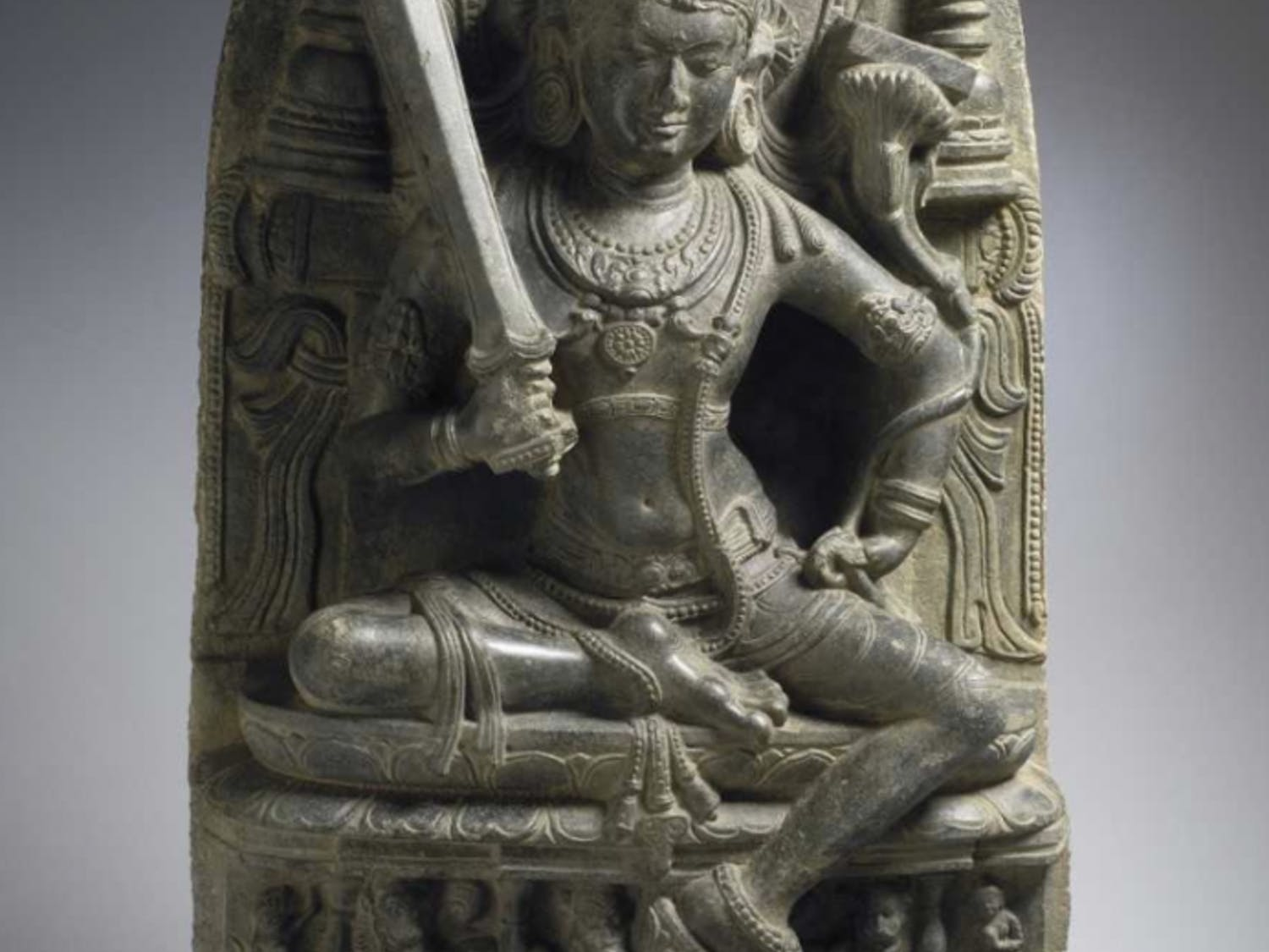 Unidentified Artist  Eastern India, Bengal, Pala Dynasty, 10th century Manjusri, c. 10th century phyllite 33 3/8 x 20 1/4 x 8 11/16 in. (84.7 x 51.4 x 22 cm) Photo courtesy of The Ackland Art Museum.