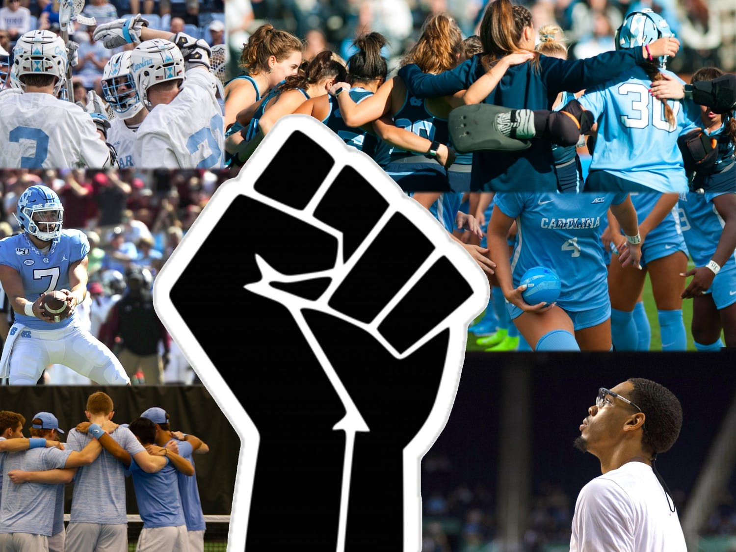 Every UNC sports team, in addition to many athletes such as basketball player Garrison Brooks (bottom right) and football player Sam Howell (middle left) have made statements in support of the recent Black Lives Matter and anti-police brutality protests.
