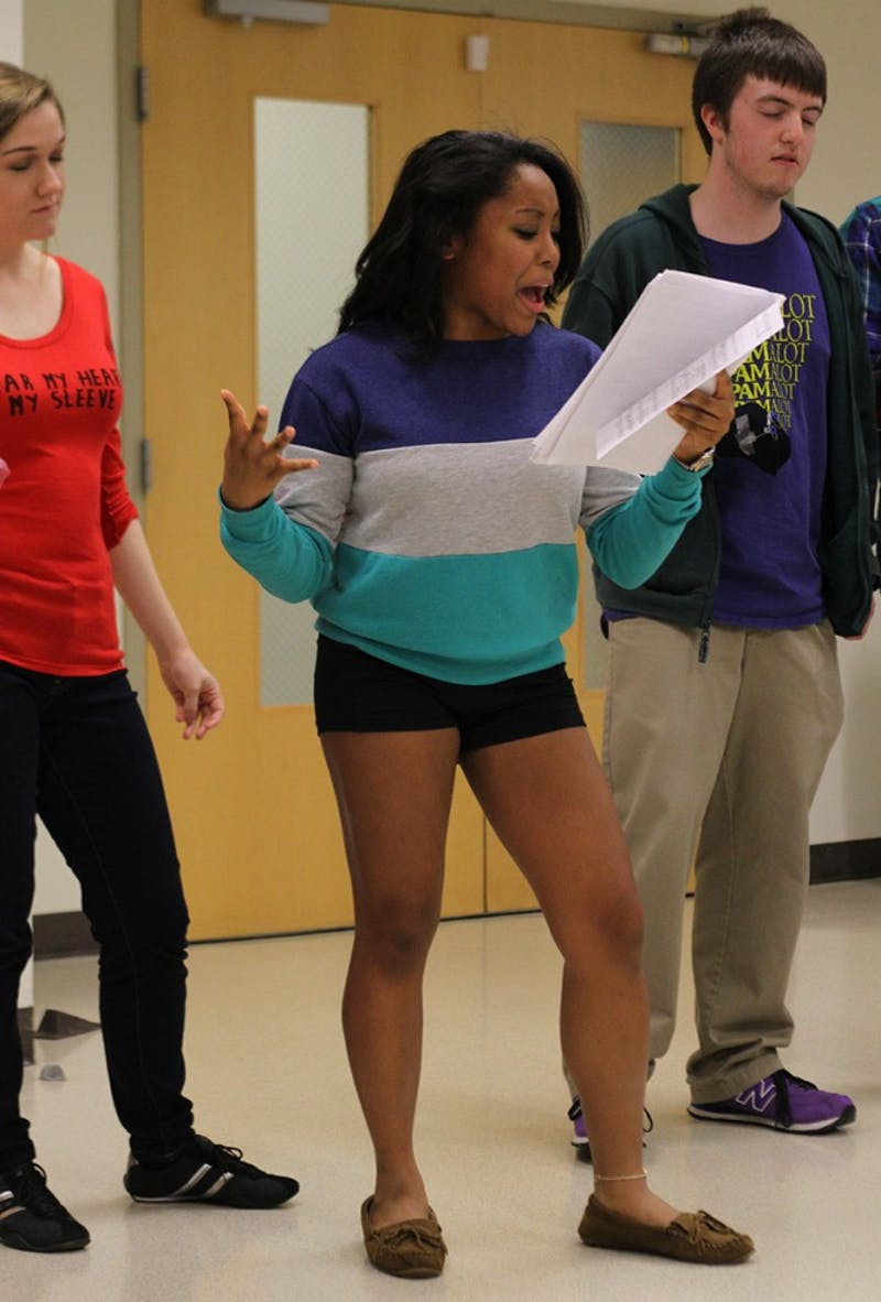 Student performer Mariah Barksdale auditions in the UNC Student Union during callbacks for Pauper Player's production of Avenue Q.
