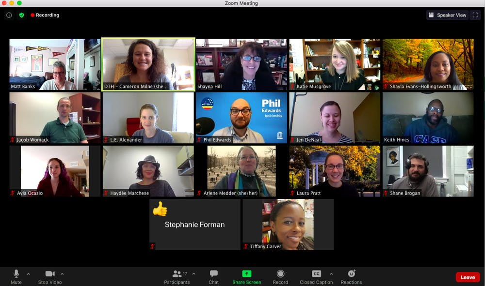 <p>Screenshot from the Employee Forum Executive Committee's virtual meeting on Tuesday, Oct. 20, 2020.</p>