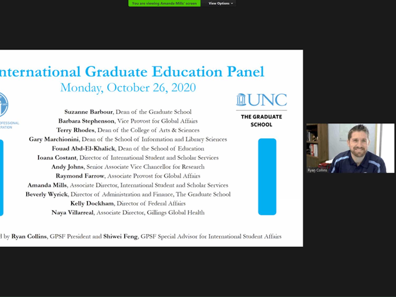 Ryan Collins speaks at the virtually-held International Graduation Education Panel on Monday, Oct. 26, 2020.