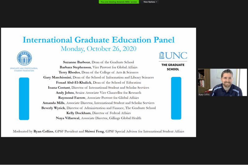 Ryan Collins speaks at the virtually-held International Graduation Education Panel on Monday, Oct. 26, 2020.
