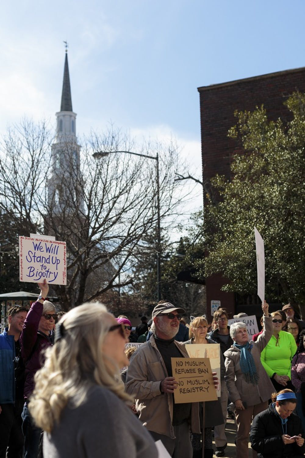 The immigration protest took place at the post office on Franklin St.