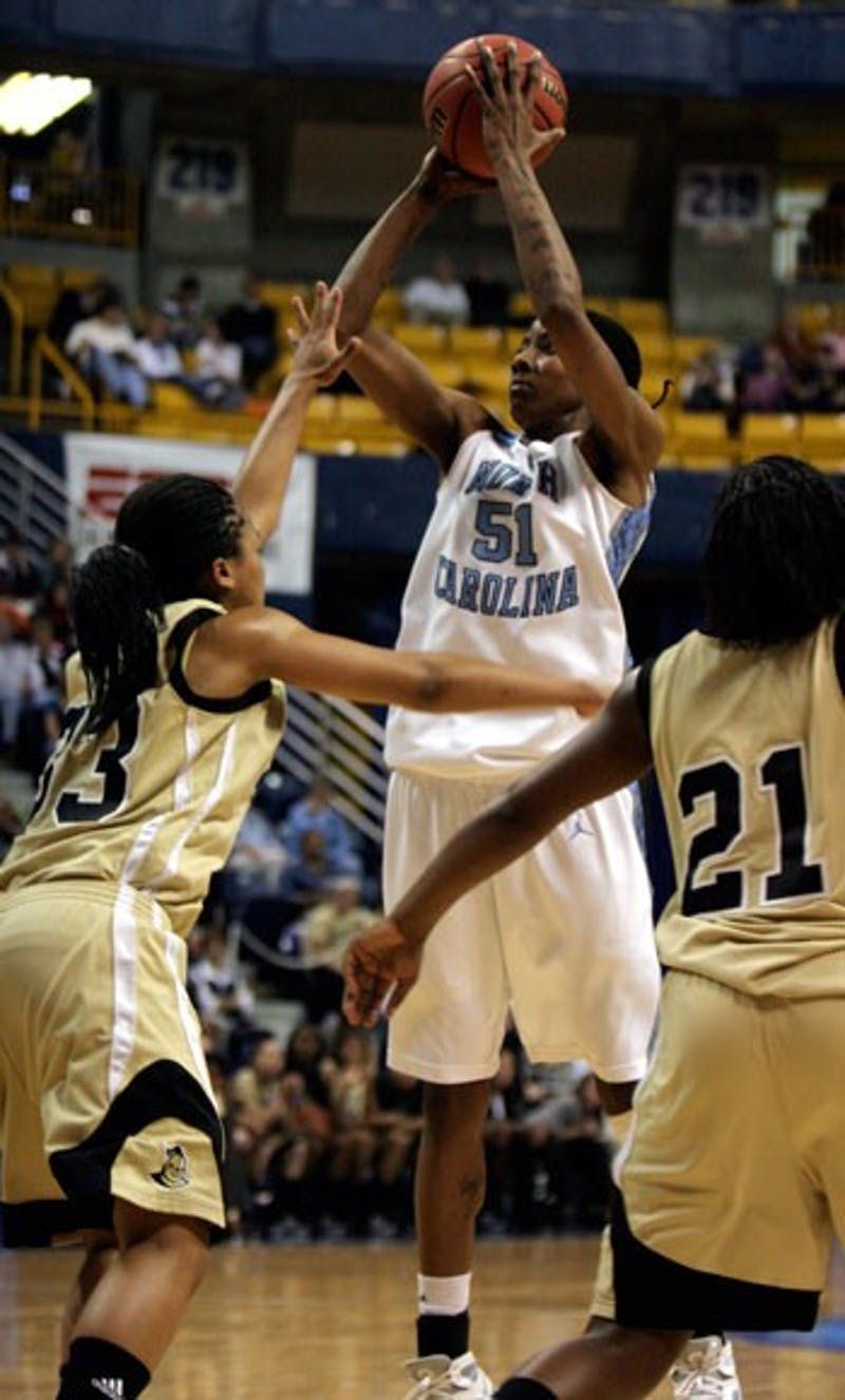 """Despite picking up two fouls in the game?s last 10 minutes"""" forward Jessica Breland provided a defensive presence for the Tar Heels with a UNC-high five blocked shots. She also recorded nine rebounds and 17 points."""