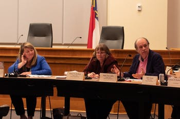 Orange County Board of Commissioners member Mark Marcoplos speaks at a joint school boards meeting between Orange County Public Schools, Chapel Hill-Carrboro City Schools and the Board of County Commissioners. The meeting took place on Tuesday, Feb. 25, 2020 at the Whitted Building in Hillsborough, N.C.