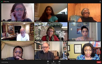 Screenshot from a Community Dialogue hosted by the Multicultural Affairs and Diversity Outreach Committee of the Undergraduate Executive Branch of UNC on Tuesday, Nov. 10, 2020, where committee members led discussions with panelists about the current state of America.