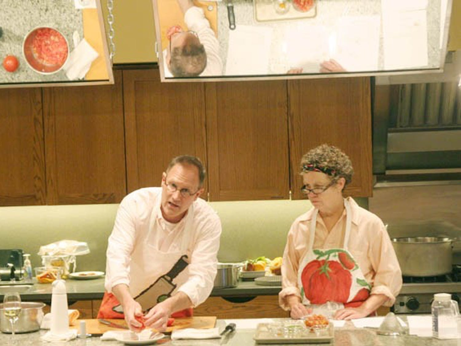 Award winning culinary geniuses Mark Day,owner of the Mark Day Company, and Peggy Bloodworth teach students their craft  at Southern Season located at the University Mall, Chapel Hill, NC Tuesday June 28,2011.