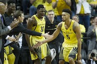 The No. 13 Oregon Ducks play the No. 5 Arizona Wildcats at Matthew Knight Arena in Eugene, Ore. on Saturday, Feb. 4, 2017. (Adam Eberhardt/Emerald)