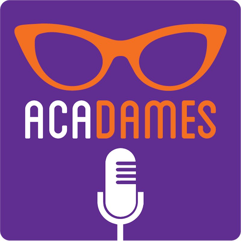 The AcaDames podcast, hosted by Sarah Birken and Whitney Robinson, premiered on Jan. 17, 2019 and discusses the issues women face in academic fields. Logo for AcaDames podcast by Melissa Hudgens at Leafy Greens Graphic Design.