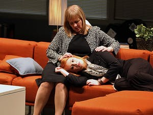 """Arielle Yoder (right) and Julia Gibson and perform in """"Love Alone,"""" presented by the Playmakers Repertory Company starting Feb. 26 and continuing through March 16. Playmakers' production of Deborah Salem Smith's story of grief and healing will be performed in the Paul Green Theatre at UNC's Center for Dramatic Art. Individual ticket prices start at $15."""