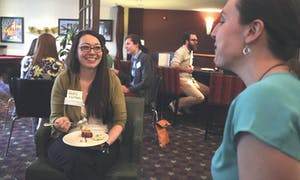 Kelly Kleinbrahm, a Chapel Hill Professionals member, attends a Chapel Hill Young Professionals networking event at the Residence Inn in March 2015. (Courtesy of Nicholas C. Johnson)
