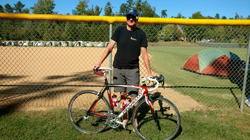 Cyclist Brian Baxter is from Canada and participated in the CNC Mountain to Coasts biking tour.
