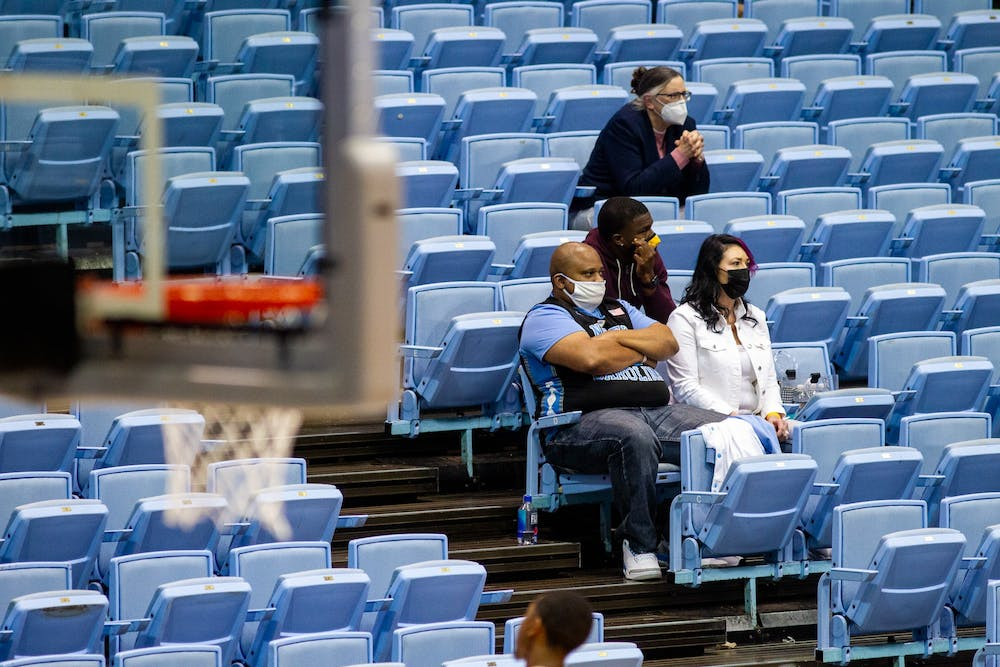 Fans look on as UNC plays Wake Forest in the Dean Smith Center Jan. 20, 2021. The Tar Heels beat the Demon Deacons 80-73.