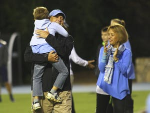 UNC Women's Soccer Head Coach Anson Dorrance with family after a historic 800th win as Head Coach.http://www.goheels.com/SportSelect.dbml?SPSID=668177&SPID=12982