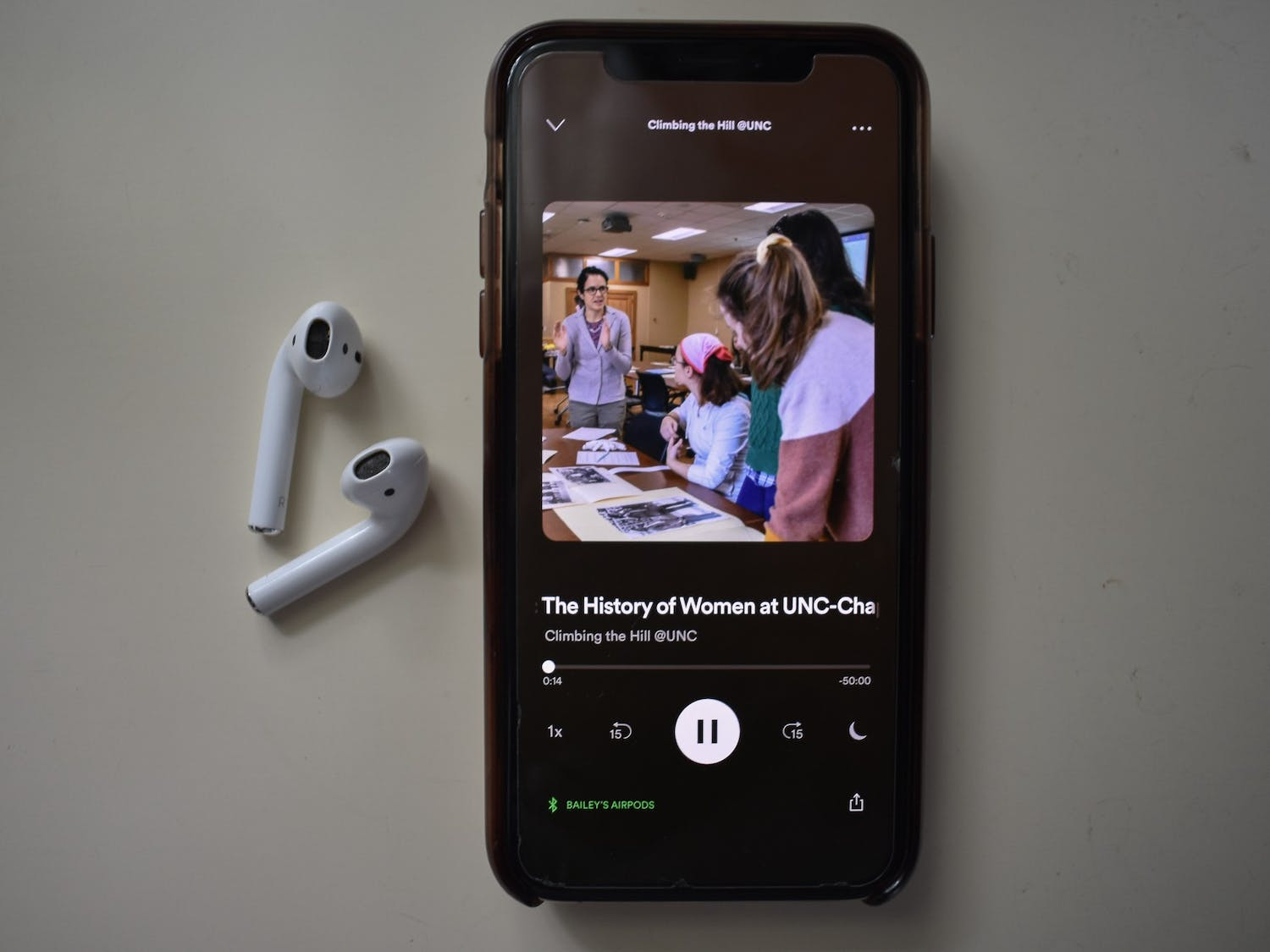 DTH Photo Illustration. Climbing the Hill: The History of Women at UNC is a podcast created by students in Hist 179H in Spring 2020 in order to highlight UNC's history of female students, workers, faculty wives, and community members.