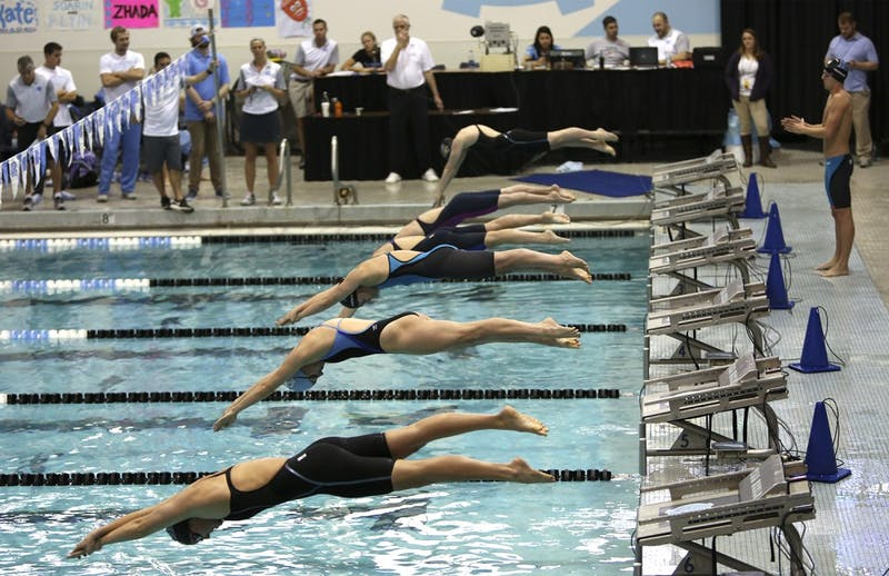 The UNC swimming team held the Carolina Cllege Invitational in the Koury Natatorium this past weekend.
