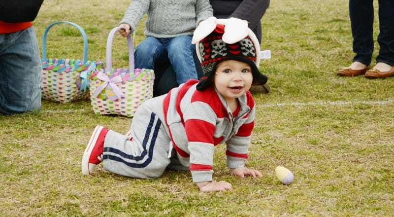 Nathan Rosensweet, 15 months,  gets ready for the Orange County Easter Egg Hunt.
