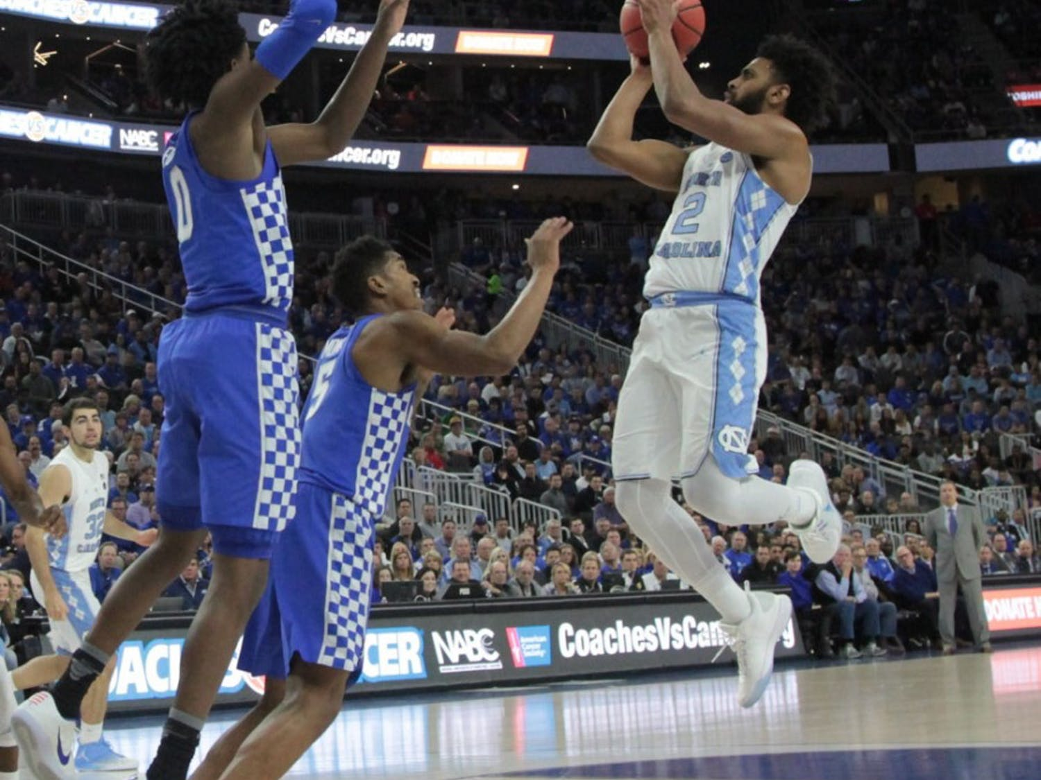 UNC guard Joel Berry (2) pulls up for a shot against Kentucky at the CBS Sports Classic on Saturday.