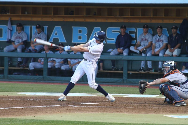 Brian Miller swings and misses in the Tar Heels' Saturday game against UVa.