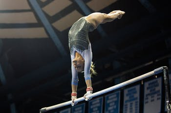 UNC freshman Elizabeth Culton competes in the uneven bars during a meet against University of Pittsburgh's gymnastics team at Carmichael Arena on Saturday, Jan. 25, 2020. Culton won first place overall with a total score of 38.875.
