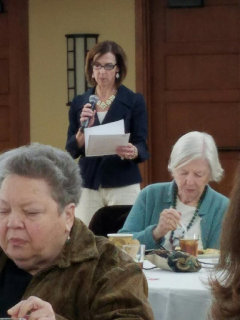 Stacey Yusko, the executive director of the Chapel Hill-Carrboro Meals on Wheels, speaks at a celebration event.