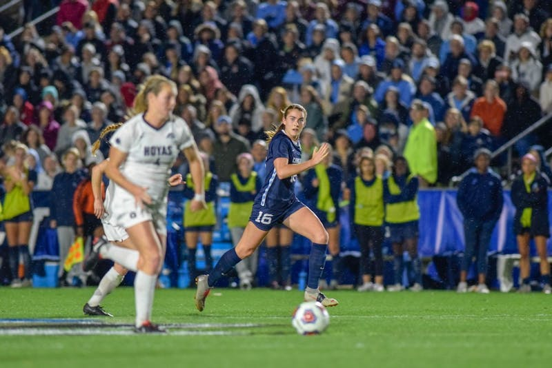 Defender Julia Ashley (16) chases down the ball during UNC's match against Georgetown in the Women's College Cup semifinals on Friday, Nov. 30 2018 at Sahlen's Stadium at WakeMed Soccer Park in Cary. UNC won 1-0.