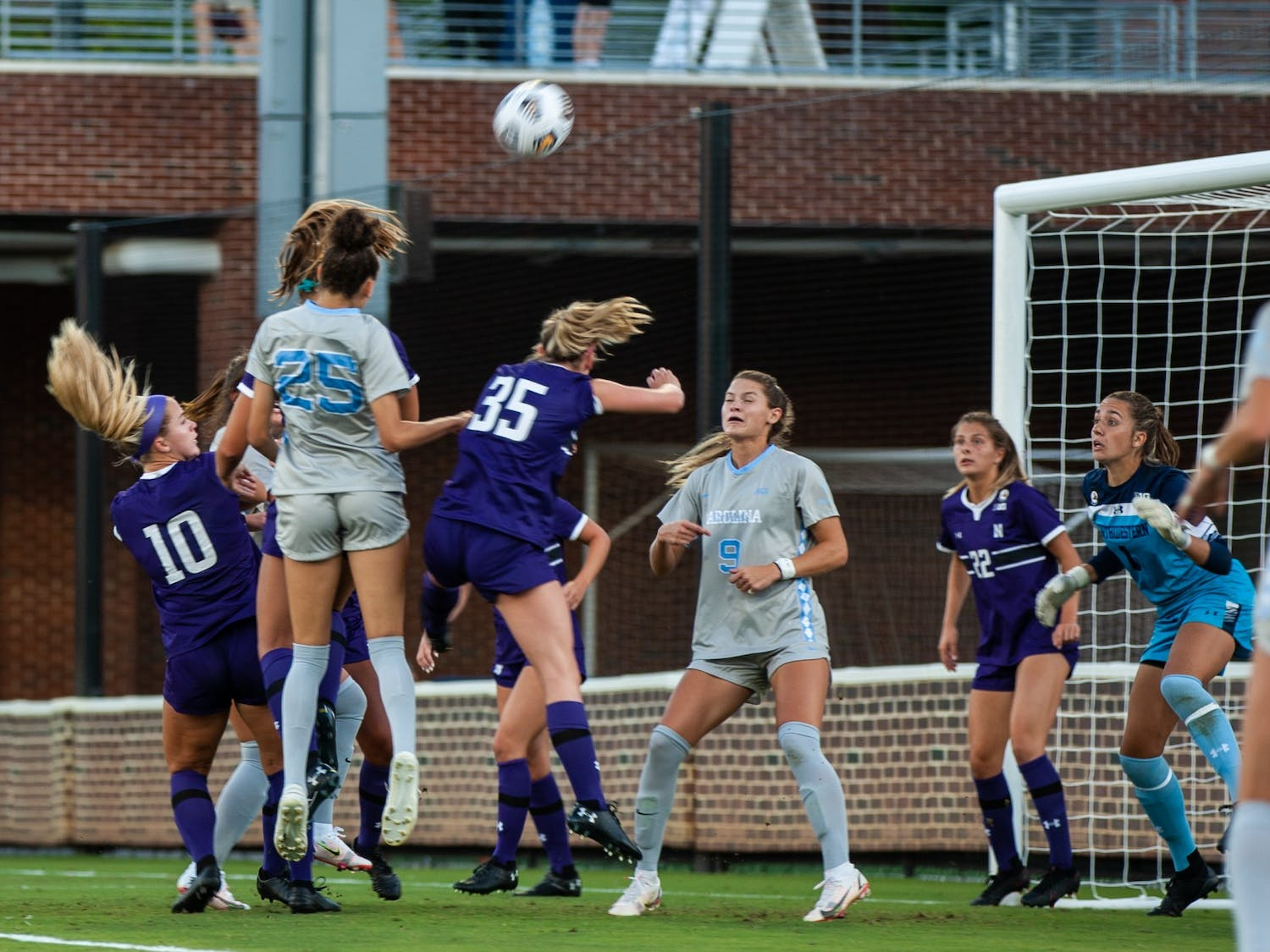 UNC women's soccer team scores a goal against Northwestern at the home game on Sept 2. UNC won 2-0.